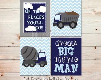 Construction posters Construction wall decor Dream big Cement truck print Blue nursery art Big boy bedroom decor Prints for boys #1399