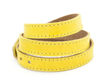 Yellow leather cuff, Yellow wrap bracelet, Yellow leather bracelet  - the TWIST