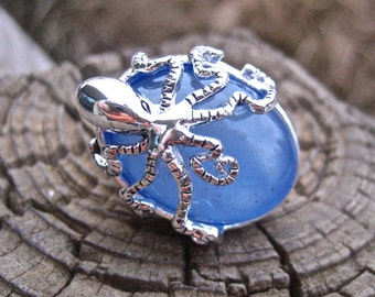 Cool Vintage Blue Agate Octopus Ring