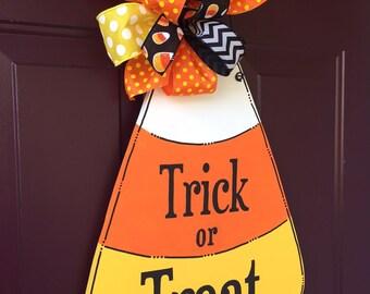 Trick or Treat Candy Corn Hand Painted Wood Door Hanger