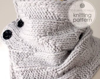 Knitting Pattern Cowl. Knitting Pattern Scarf. Knit Cowl. DIY Knitting. Knit Patterns. Knitted Pattern Scarf. Grey Geometric Cowl.