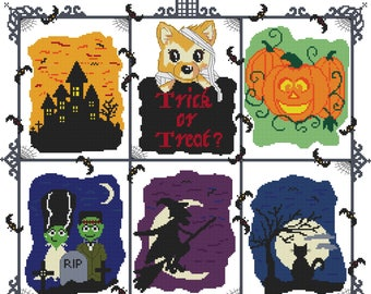 Cross Stitch Pattern, 'Halloween Cross Stitch Chart, Foxglove Loves Halloween, PDF Pattern, Counted Cross Stitch, Emailed PDF,