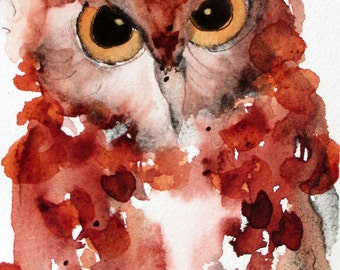 Watercolor Painting of Screech Owl, Original Bird Art Print, Large Archival Owl Art