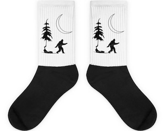 Bigfoot Socks - Sasquatch Socks - Bigfoot Design - Bigfoot Gift - Yeti Socks - Minimalist - Socks - Nature Socks - Hiking - Wilderness