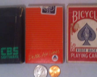 Vintage Set of 3 Decks of Playing Cards, Poker, Gambling, Five Card Draw, Card Games, Bicycle, CBS Software, Delta Airlines