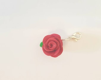 NEW beautiful rose Polymer clay stitch markers progress keepers or charm