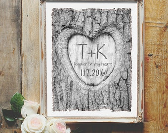 Heart in Tree | Personalized Sympathy Gift | Custom In Memory of Artwork | Carved Name Memorial Gift | Family Remembrance Keepsake