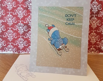 Christmas Card - sledging blue Dragon - greeting card, snowflakes, mouse