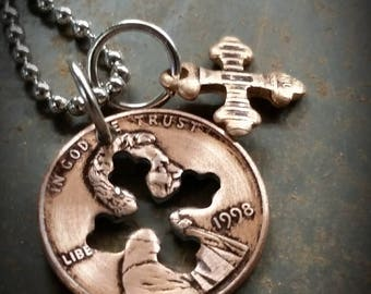 1998 20th Birthday Penny Cross Necklace 20th Anniversary 20th Birthday Gift Coin Jewelry made from a 1998 Penny +