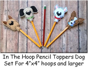 In The Hoop Pencil Topper Dog Embroidery Machine Design Set