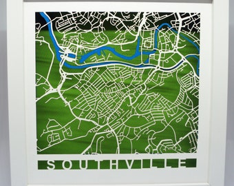 Laser cut map - personalised - local - your area - house warming - anniversary - bespoke - custom made - unique