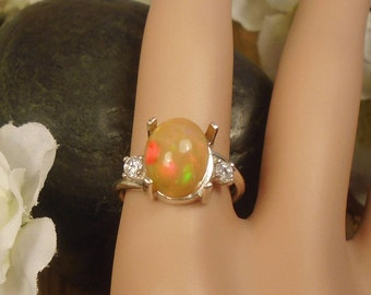 Orange Ethiopian Extreme Fire Opal 2 Birthstone Accent Gems Ring, Solid Sterling Silver, 2.73 Cts 11 x 9.10 mm Natural AAA+++ Ethiopian Opal