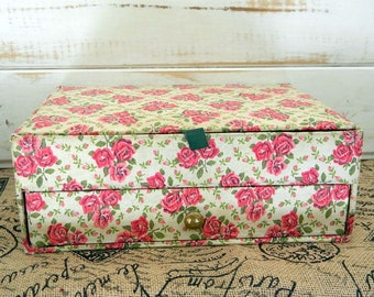 Vintage Haberdashery Sewing Box - Flip Lid and Pull Out Drawer - Filled With Goodies