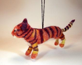 Felted tiger ornament/tiger car mirror charm/needle felted tiger charm/tiger hanging ornament/felted tiger hanging ornament/tiger decor