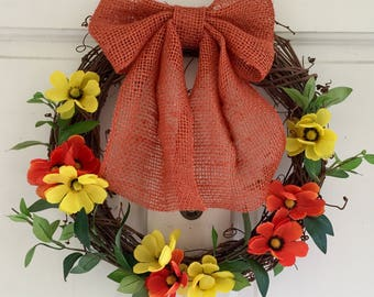 Spring Wreath, Grapevine Wreath w/Orange & Yellow Flowers, Leaves, Spring Wreaths for Front Door, 12 Inch