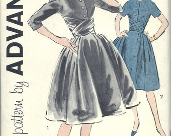 1950's Vintage Advance Printed Dress Pattern Sew Easy