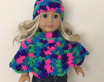 18 inch doll, doll clothes, doll hat, doll poncho, American Girl, Gotz Precious day, doll outfit, toy, doll, multicoloured,