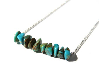 Genuine Turquoise Necklace Sterling Silver Kingman Chunky Chips Turquoise Chips Stone Bar Necklace Chain Simple Necklace Southwest #18221
