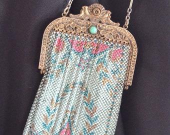 "Art Deco Jeweled Framed Purse Enamel Mandalian Handbag 14"" Long w/ Strap"