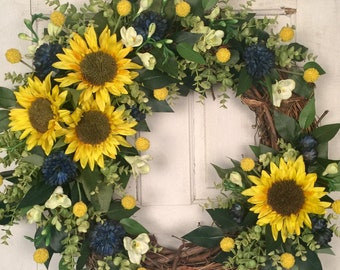 Grapevine Wreath, Front Door Wreath, Sunflower Wreath, Yellow and Blue Wreath, Summer Wreath, Everyday Wreath, Fall Wreath