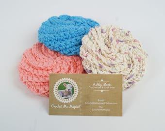 Crocheted Cotton Spiral Scrubbies