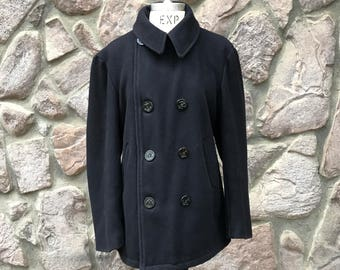 Vintage 70s-80s Navy Blue Sailor's Pea Coat / Quilted Lining / Double Breasted / Made in the USA / Men's Size 38 Medium / Women's Large
