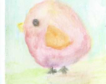 Original ACEO Watercolor Painting - Little Pink Bird