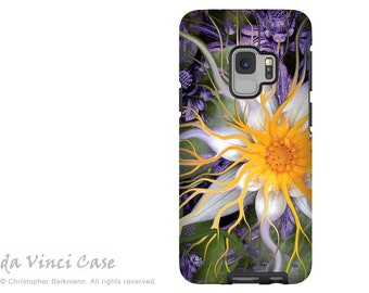 Lotus Case for Samsung Galaxy S9 - Green and Purple Floral S 9 Case with Art - Bali Dream Flower - Dual Layer Case by Da Vinci Case