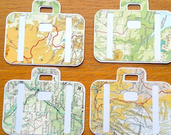 Travel Theme Gift Tags - 9 Suitcase Shaped World Map Gift Tags - Atlas Birthday / Wedding Gift Tags - Favour Tags - Party Tags