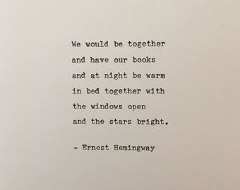 Ernest Hemingway quote hand typed on antique typewriter