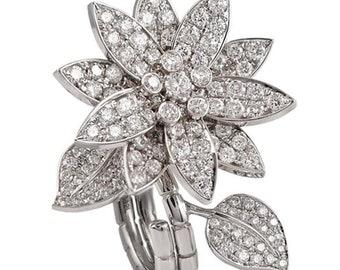 Van Cleef & Arpels Lotus Between the Finger Diamond Ring 2.13ct Diamond 18K