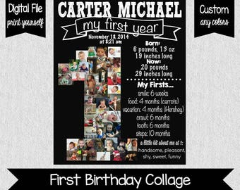 Baby's First Year Collage Poster - Digital - Photo Collage - First Birthday Chalkboard - One Year Old Party Decor - First Birthday
