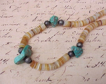 Pretty Vintage Necklace of Shell Beads and Turquoise Chunks