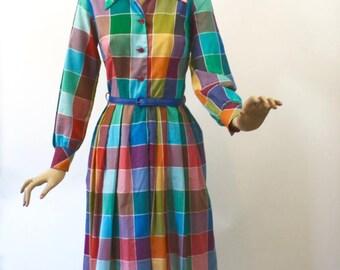 Vintage 70s Day Dress Colorful Plaid Cotton Shirtwaist Dress Full Pleated Skirt Long Sleeve Secretary Dress Size 14 Bust 38