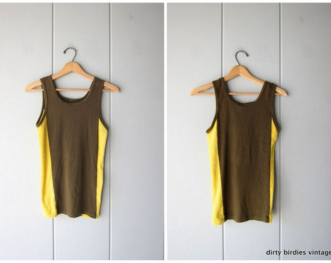 80s Sporty Tank Top Vintage Army Green Yellow Basic Plain Muscle Tee Easy Cotton & Terry Cloth Tank Boho Hipster Womens Small XS