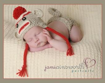 Baby Sock Monkey  Hat  and Diaper Cover Set Baby 0-3m Crochet Unique Photo Prop