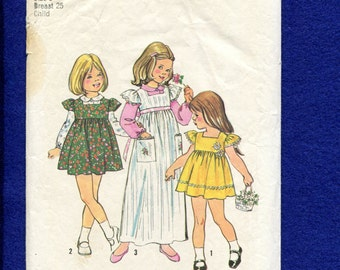 1973 Simplicity 6184 Toddlers Empire Dress or Jumper with Cap Sleeves and Peter Pan Collar Blouse Size 6
