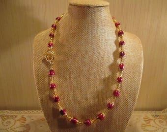 Handmade Fushia Dyed Cultured Freshwater Potato Pearl 19 inch Necklace
