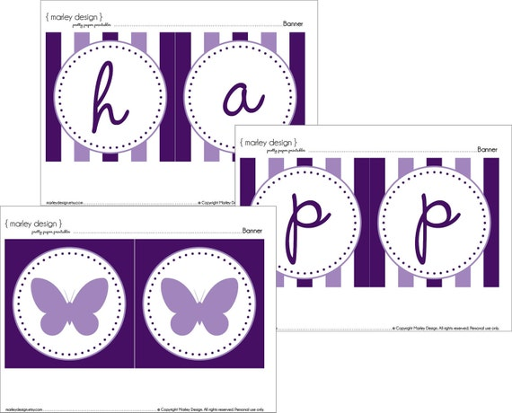 Completely new Purple Butterfly Party Happy Birthday Banner Printable Instant WL04