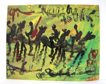 Folk art painting, Purvis Young, wall art,  horse art, green painting, outsider folk art, original painting, art painting, vibrant painting