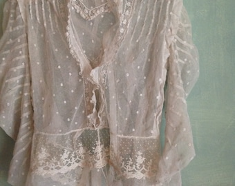 antique edwardian victorian tulle net lace bodice blouse Medium size