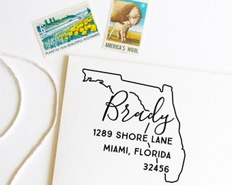 Florida return address stamp, state, self inking stamp or rubber stamp wood handle