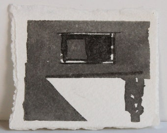 Original Miniature Ink Drawing - City Window with Abstract Shadows