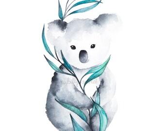 Koala Watercolour Art Print - 8x10 / A4 size