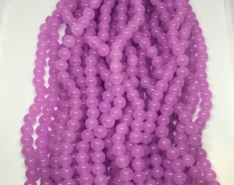10mm Lavender glass bead strand