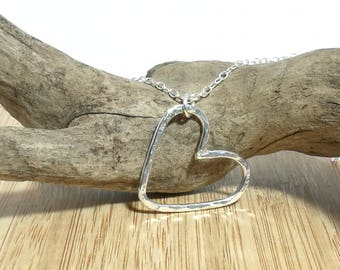 Large hammered heart sterling silver necklace.