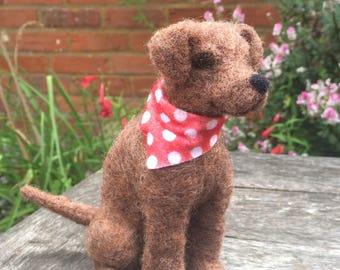 Needle felted Brown Puppy with Bandana - Handmade by Velvet mushroom