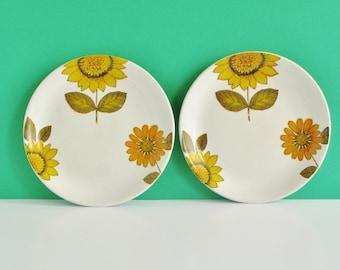 Vintage Retro 1960s Alfred Meakin Sunflower Tea / Side Plates x 2 Glo-White Ironstone