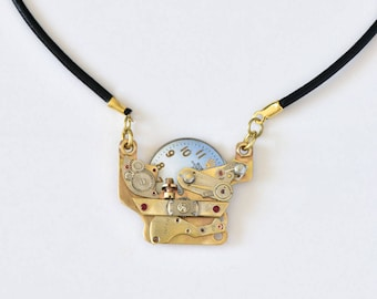 Steampunk Necklace, Upcycled vintage pendant Royal watch, Mixed Metals Jewelry