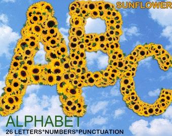 Digital Sunflowers Alphabet, Summer Alphabet, Floral Alphabet, Printable Lettering, Instant Download, #39